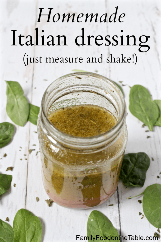 Homemade Italian dressing is so easy to make -- just measure out the ingredients and shake it all up! This dressing has such great flavor and is delicious for salads and as a marinade. #Italiandressing #saladdressing