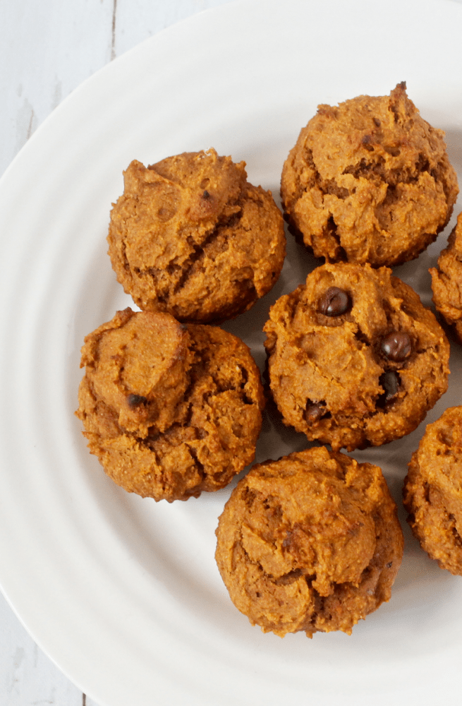 PB pumpkin muffins with optional chocolate chips - whole wheat and naturally sweetened! | FamilyFoodontheTable.com