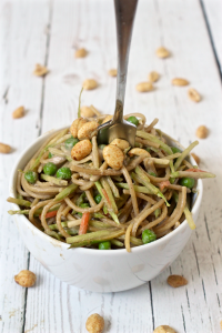 Peanut butter spaghetti with vegetables - a great vegetarian meal for kids and adults (eat warm or cold!) | FamilyFoodontheTable.com