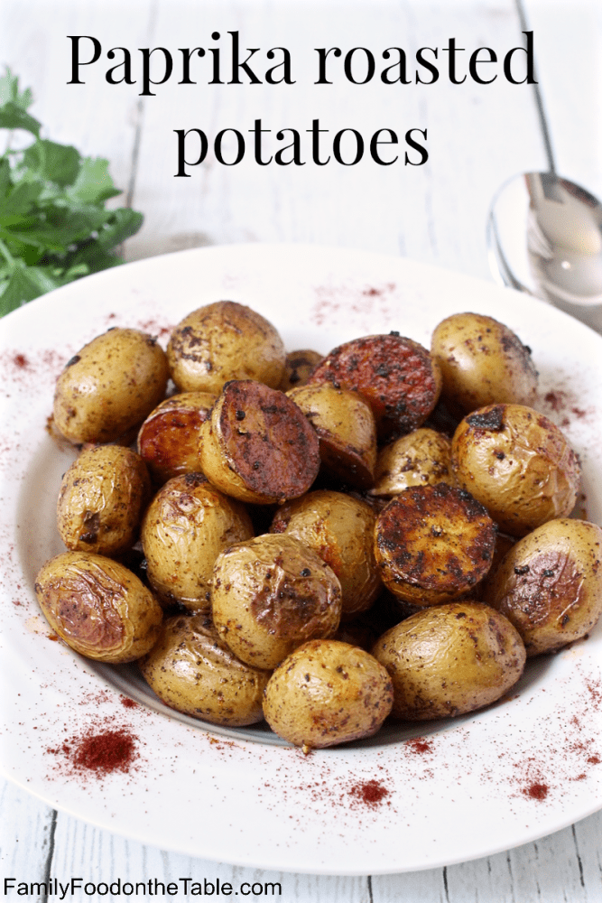 Paprika roasted potatoes are an easy, flavorful side dish with a crispy crust and a soft, fluffy potato inside. Great for a simple dinner side dish! #potatoes #potato #sidedish