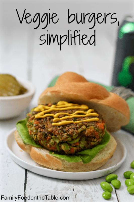 Simplified veggie burgers - just 3 veggies and seasonings to keep it easy! | FamilyFoodontheTable.com