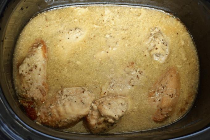 Slow cooker honey mustard chicken | FamilyFoodontheTable.com