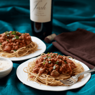 Spaghetti dinner with homemade sauce