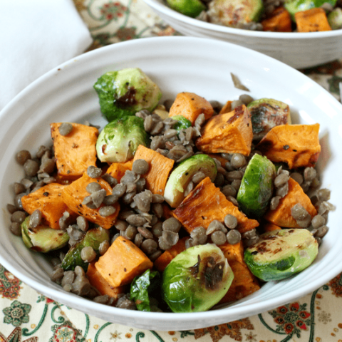 Roasted sweet potatoes, Brussels sprouts and lentils | FamilyFoodontheTable.com