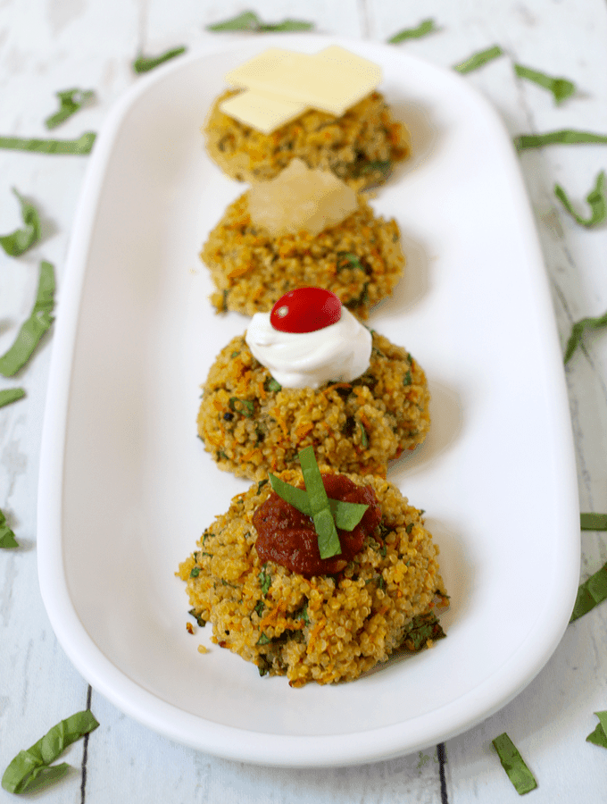 Triple veggie quinoa cakes - use your favorite toppings! | FamilyFoodontheTable.com