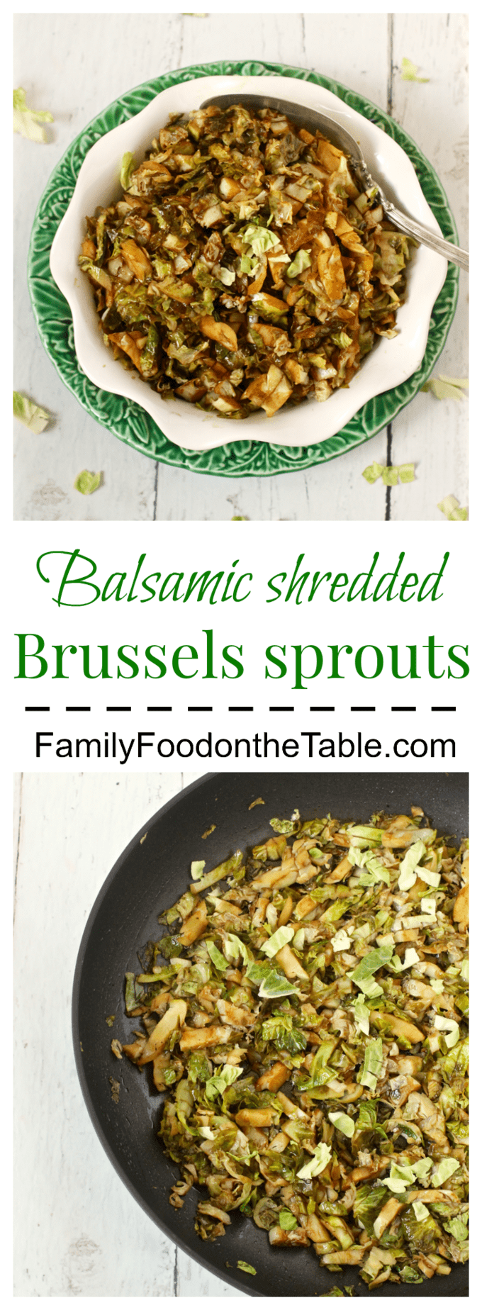 Easy balsamic shredded Brussels sprouts make a great 10-minute veggie side! | FamilyFoodontheTable.com