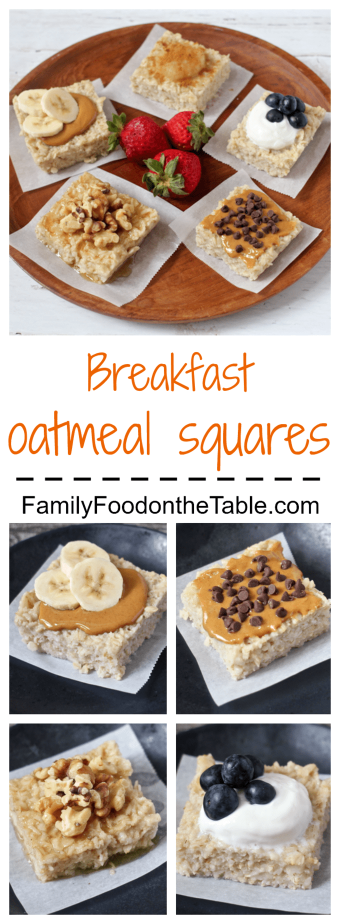 Breakfast oatmeal squares - an easy make-ahead, customizeable breakfast! | FamilyFoodontheTable.com