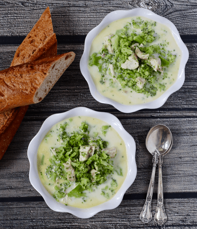 Cheesy chicken broccoli soup - a hearty soup ready in just 20 minutes! | FamilyFoodontheTable.com