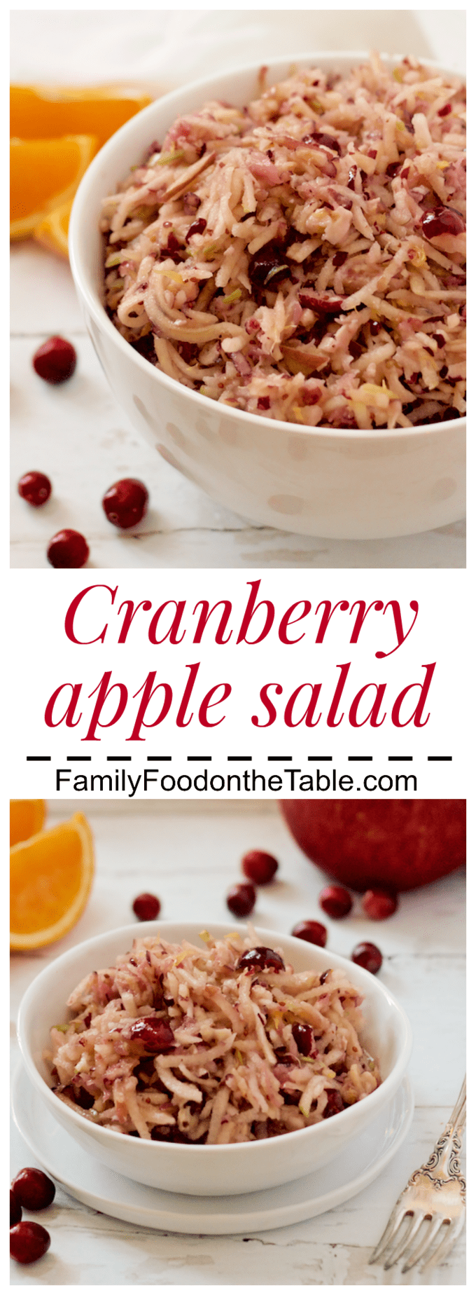 Cranberry apple salad - a bright, fresh fruit salad perfect for brunch or snacking! | FamilyFoodontheTable.com