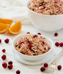 Cranberry apple salad - a bright, fresh fruit salad perfect for brunch or snacking!   FamilyFoodontheTable.com