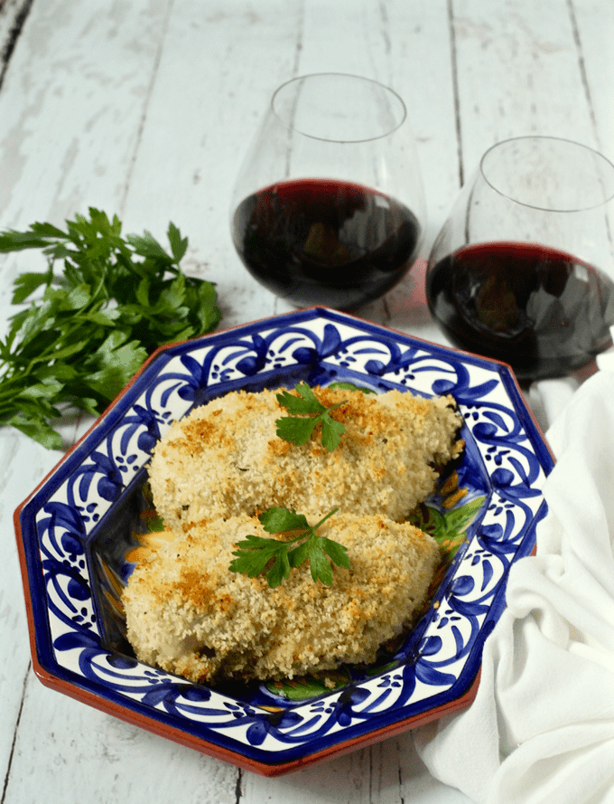 Easy crunchy baked chicken breasts - just 3 ingredients and no breading station needed! Makes for an easy weeknight dinner!   FamilyFoodontheTable.com