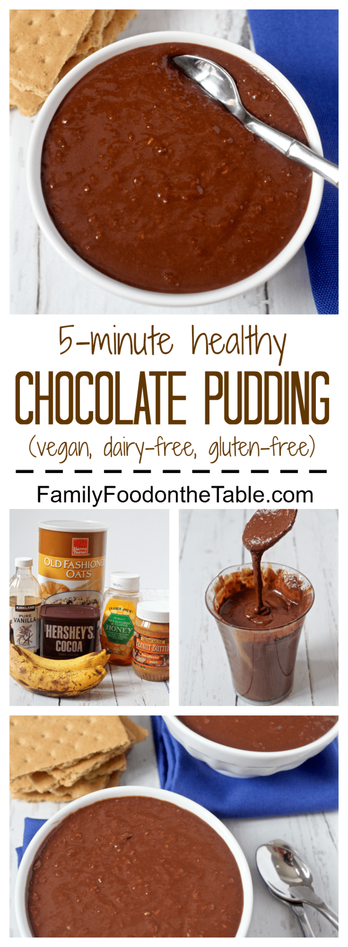 Healthy chocolate pudding - a no-cook chocolate pudding that's naturally sweetened with honey (also dairy-free, gluten-free and can be vegan!) | FamilyFoodontheTable.com