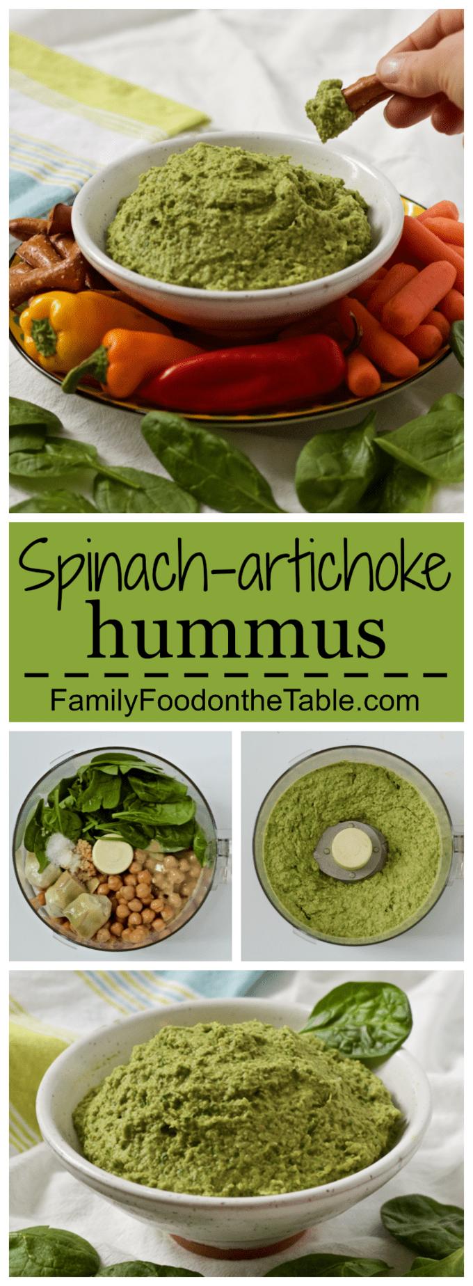 Spinach artichoke hummus collage