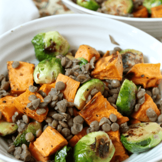 Roasted sweet potatoes, Brussels sprouts and lentils - a delicious side or vegetarian main! | FamilyFoodontheTable.com