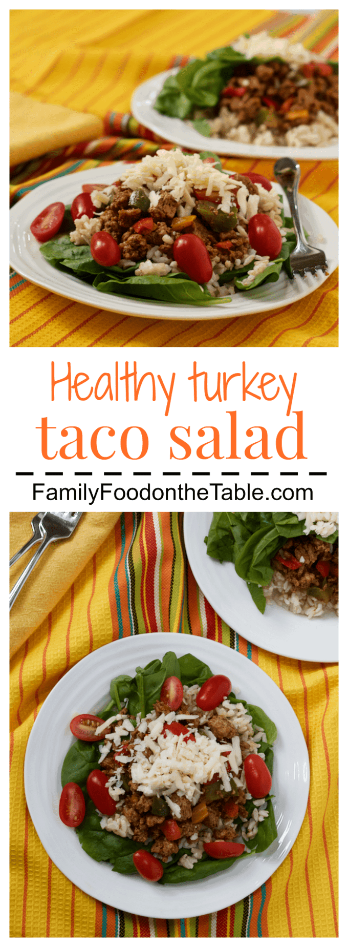 Healthy turkey taco salad - tacos in salad form for a lighter dinner | FamilyFoodontheTable.com