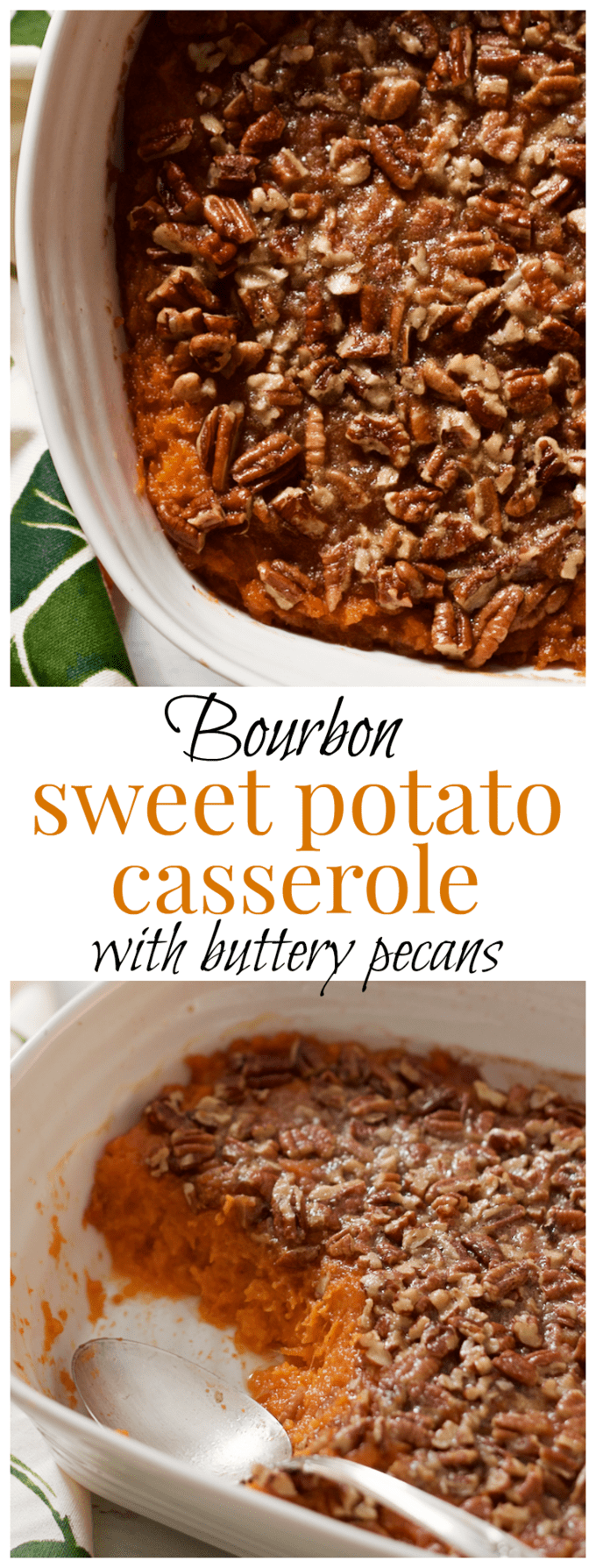 Bourbon sweet potato casserole with a buttery pecan crust - lightened up with a little less sugar and butter for a perfectly balanced holiday side dish! | FamilyFoodontheTable.com