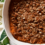 Bourbon sweet potato casserole with buttery pecans (+ video)