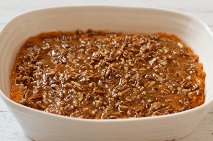 Bourbon sweet potato casserole with buttery pecan topping - ready to bake