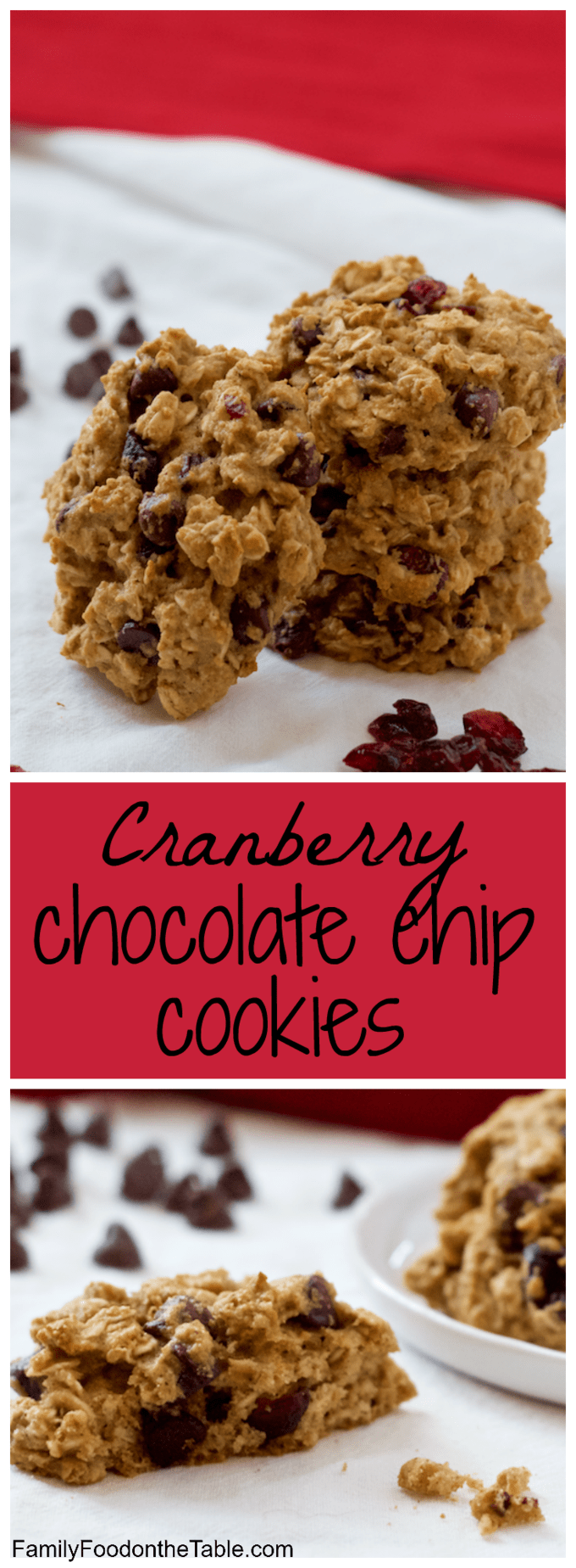Cranberry chocolate chip cookies - easy, whole grain and naturally sweetened! | FamilyFoodontheTable.com
