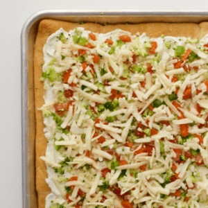 Easy vegetable squares - cold veggie pizza appetizer | FamilyFoodontheTable.com