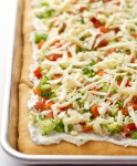 Easy vegetable squares - crescent rolls are spread with a cream cheese mixture, sprinkled with veggies and cheddar and served cold for a great veggie pizza appetizer! | FamilyFoodontheTable.com