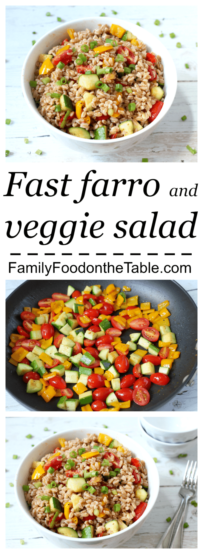 A quick, fun, healthy side dish of farro and mixed veggies!