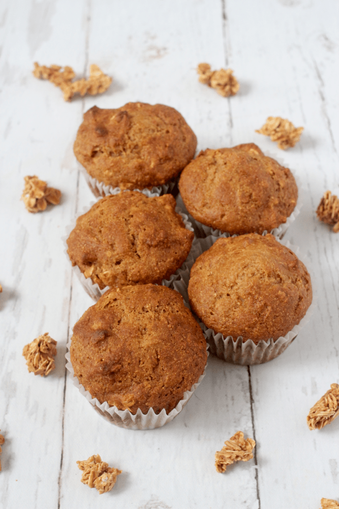 These healthy granola muffins are 100% whole grain, naturally sweetened with no added sugar and make a perfect portable breakfast or healthy afternoon snack! #granola #muffins #healthysnacks #workoutsnacks