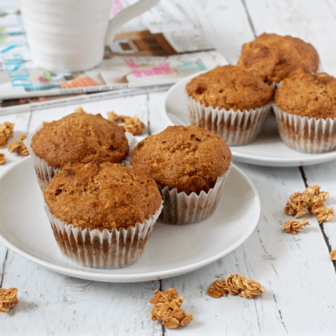 Healthy granola muffins - these easy, wholesome muffins make a perfect portable breakfast or healthy afternoon snack! | FamilyFoodontheTable.com