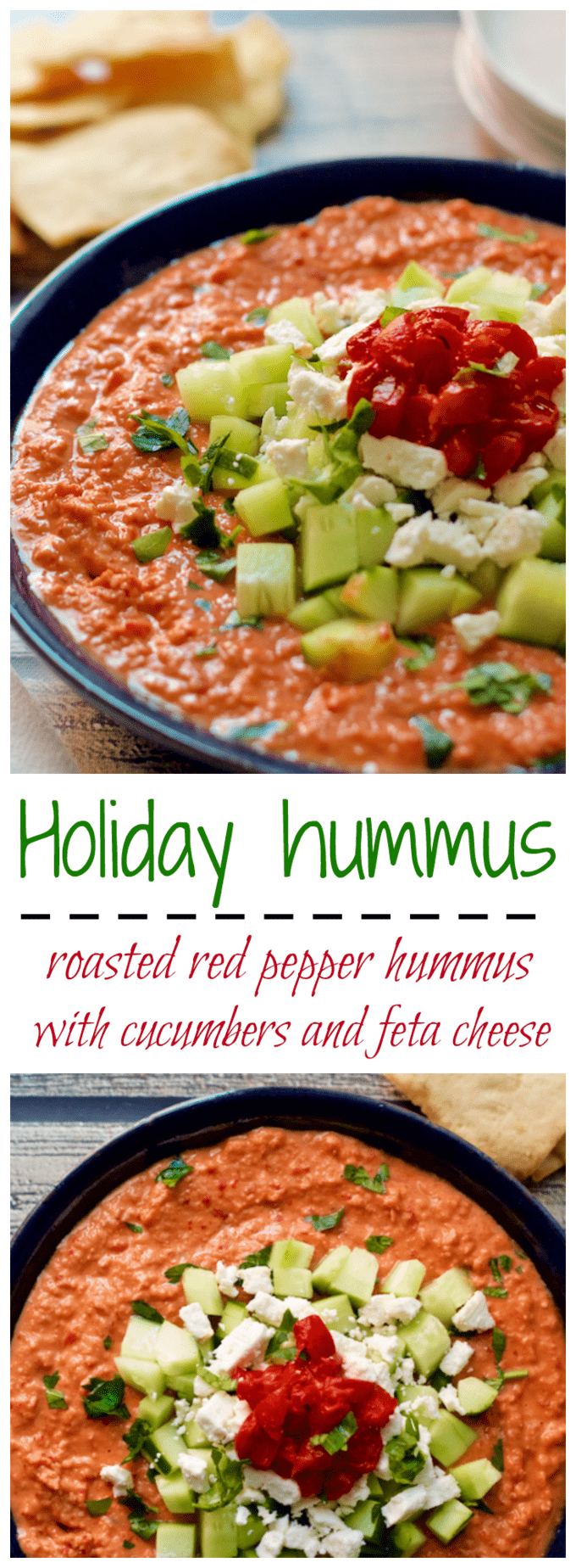 Holiday hummus has a roasted red pepper hummus base that gets dressed up with chopped cucumber and feta cheese for an easy, but fancy, holiday appetizer! #hummus #appetizers #holidays #holidayfood #partyfood #cocktailparty #holidayparty