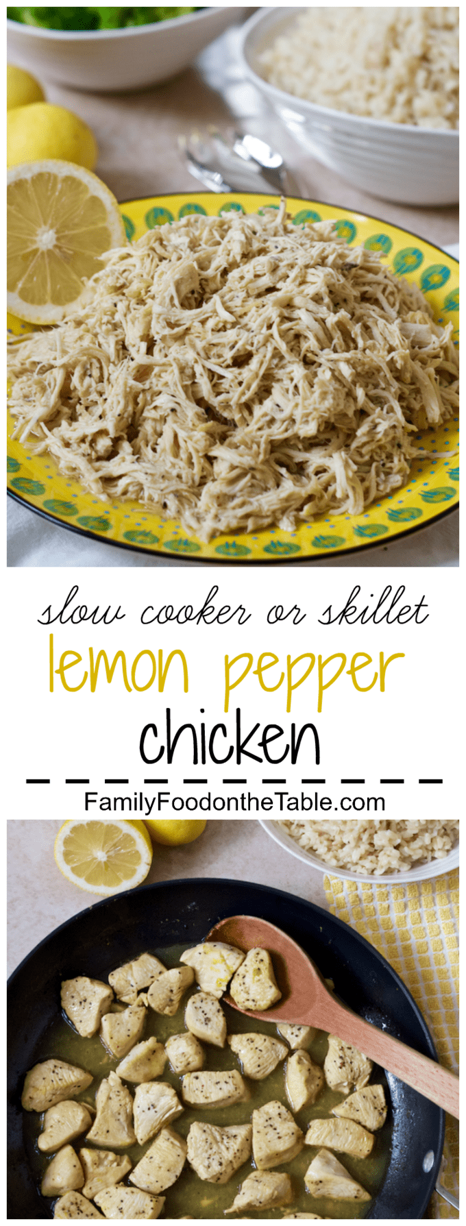 Flavorful, easy, bright lemon-pepper chicken you can make in the slow cooker or on the stove, plus 6 ways to serve it! | FamilyFoodontheTable.com