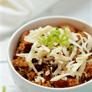 Quinoa vegetarian chili - a hearty bowl of vegan chili with tons of flavor and depth | FamilyFoodontheTable.com