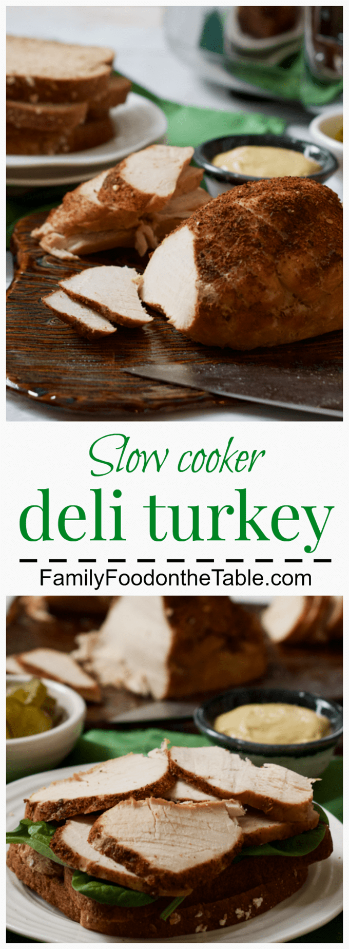 Slow cooker deli turkey - an easy, homemade healthy turkey recipe - skip the processed stuff and make it yourself! | FamilyFoodontheTable.com