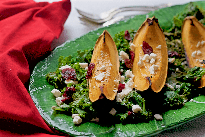 Roasted acorn squash with kale, feta cheese and cranberries