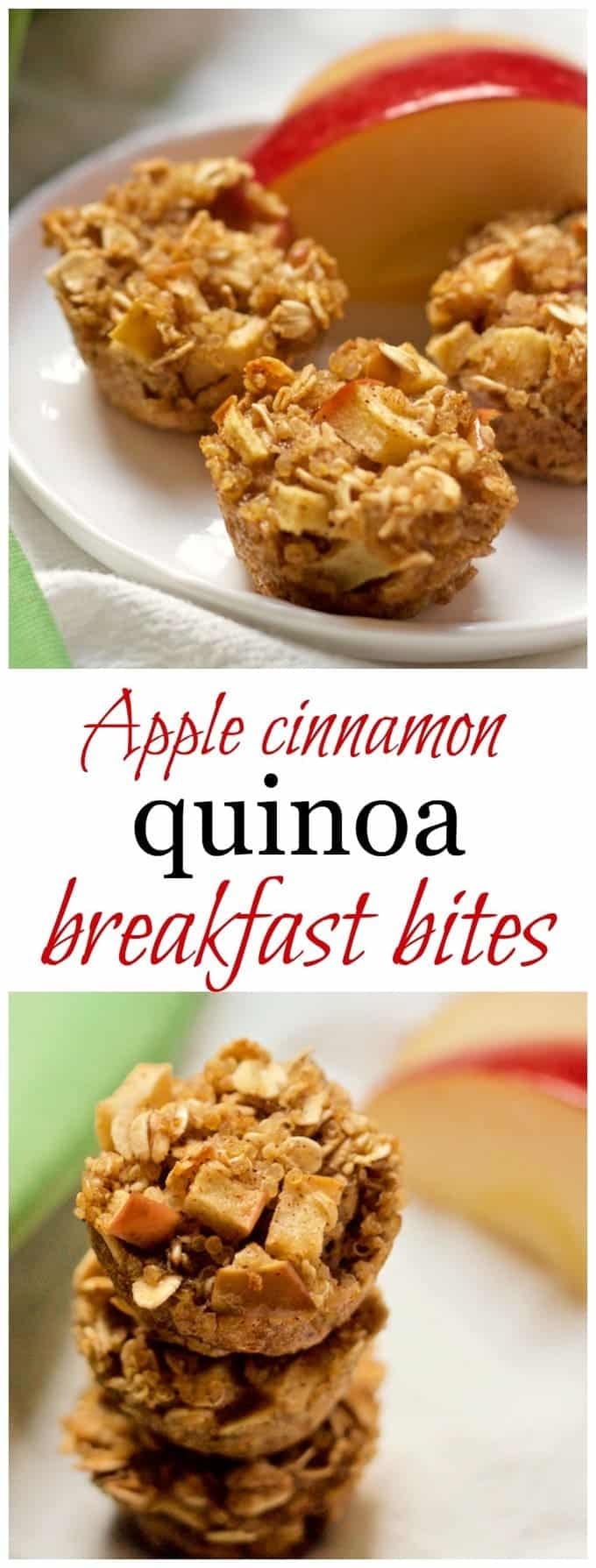 Wholesome mini muffins with quinoa, oats and apples, naturally sweetened with maple syrup.