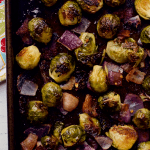 Roasted Brussels sprouts with bacon and red onion