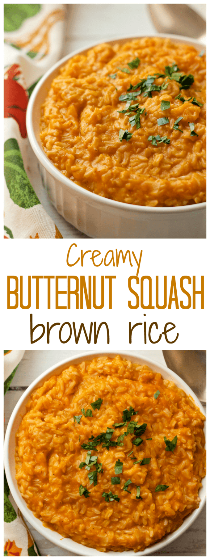 Creamy butternut squash brown rice makes for an easy, delicious side dish! Plus, 2 variations to try | FamilyFoodontheTable.com