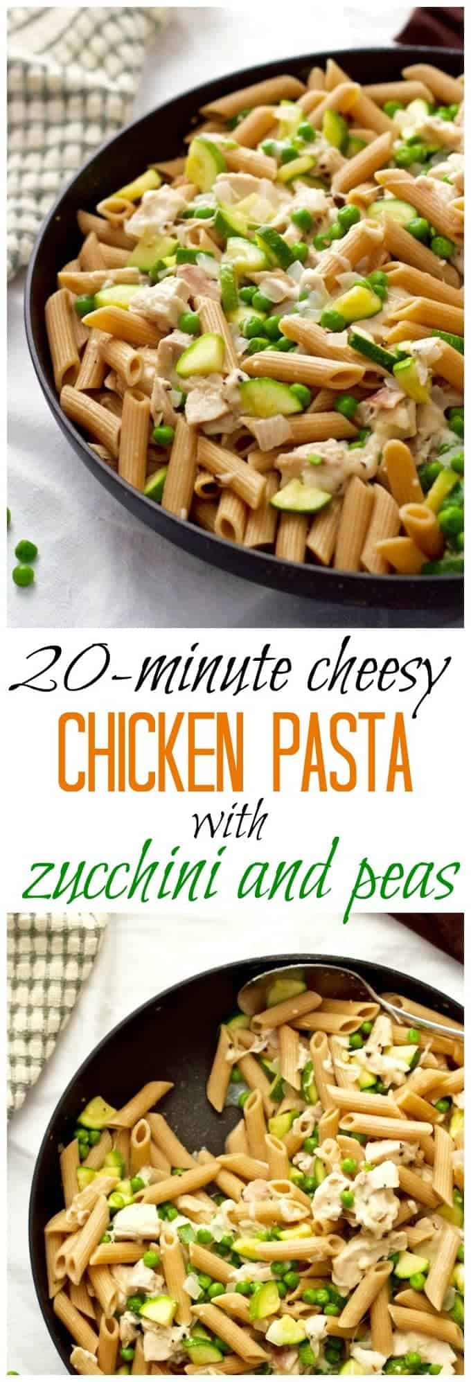 A fresh, light 20-minute chicken pasta dinner with zucchini, peas and two cheeses!