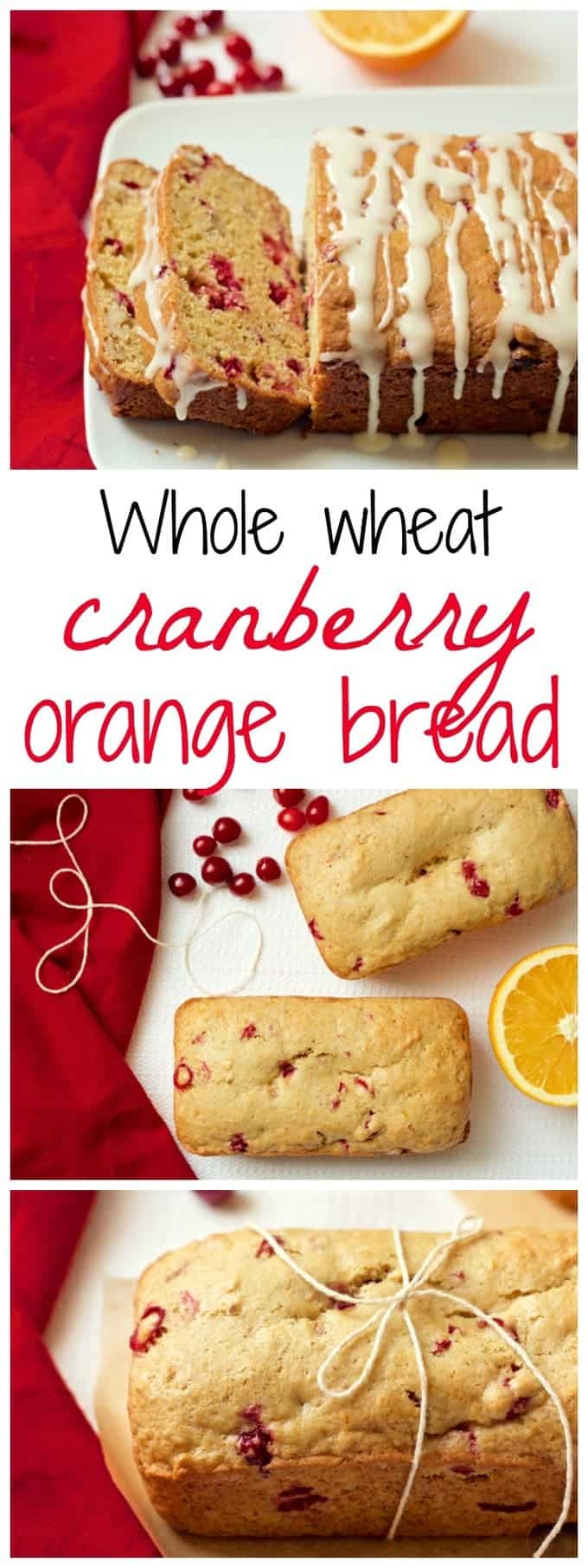 Whole wheat orange cranberry bread (with an optional citrus glaze) can be made as a large loaf or mini loaves - great for gifts or a holiday brunch! | FamilyFoodontheTable.com