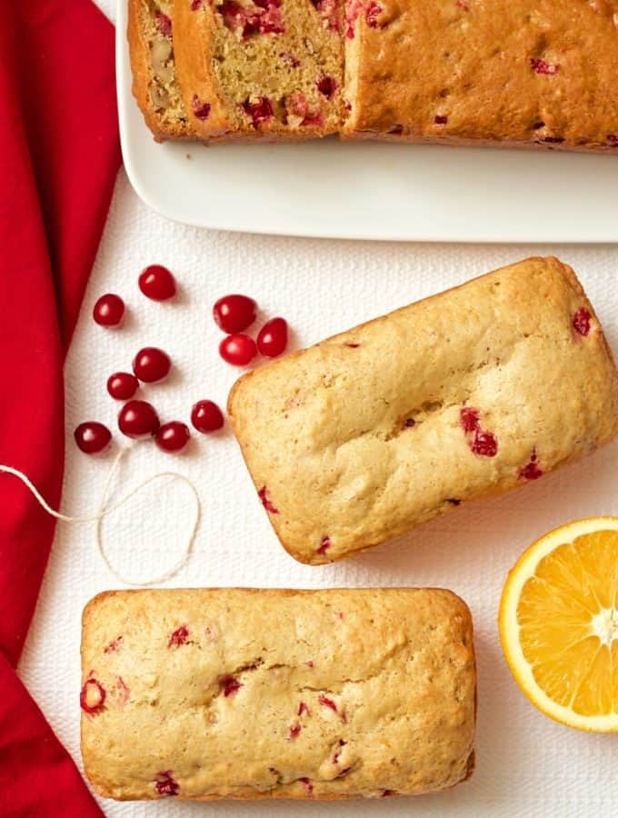 Whole wheat orange cranberry bread can be made as mini loaves or big ones - it's great for gifts or a holiday brunch! | FamilyFoodontheTable.com