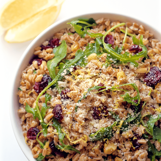 A quick and easy citrus farro and arugula salad with walnuts and dried cranberries | FamilyFoodontheTable.com