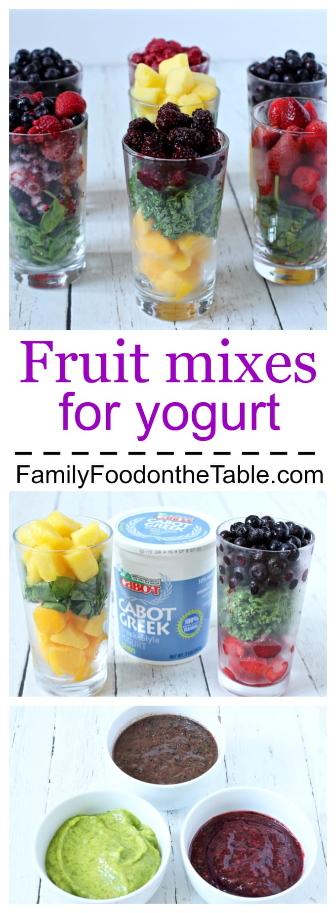 Homemade fruit mixes for yogurt (with kale or spinach) - great for babies and kids!   FamilyFoodontheTable.com