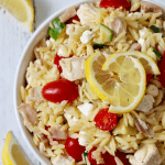 Lemony orzo chicken salad