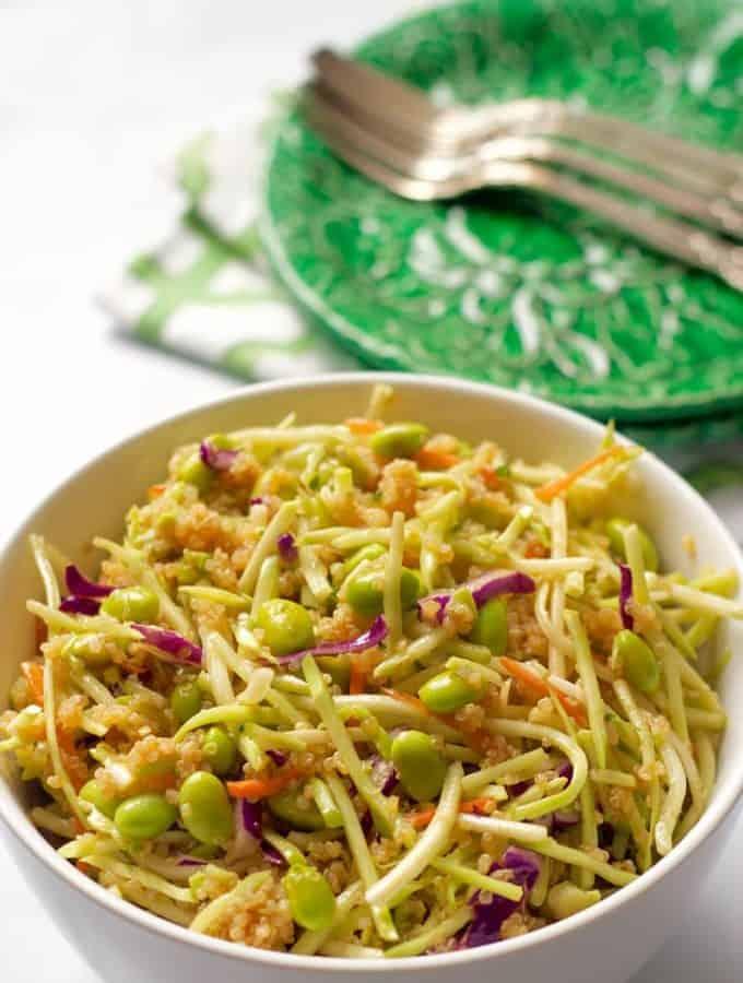 Quinoa salad with edamame, broccoli slaw and a citrus-soy vinaigrette   FamilyFoodontheTable.com