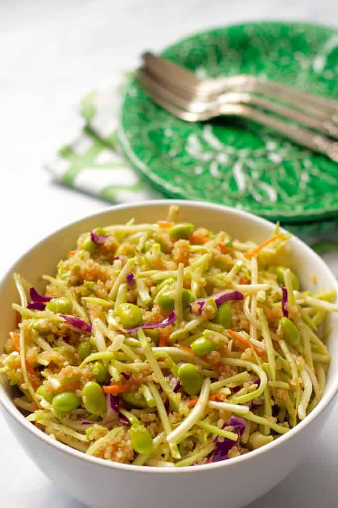 Quinoa salad with edamame, broccoli slaw and a citrus-soy vinaigrette | FamilyFoodontheTable.com