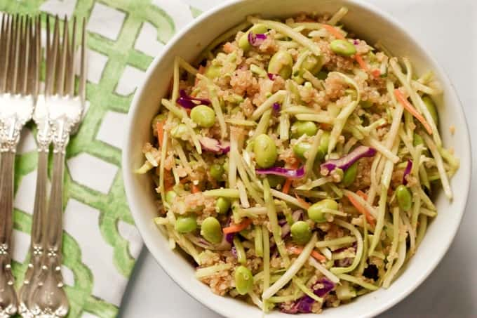 Quinoa salad with edamame and broccoli slaw
