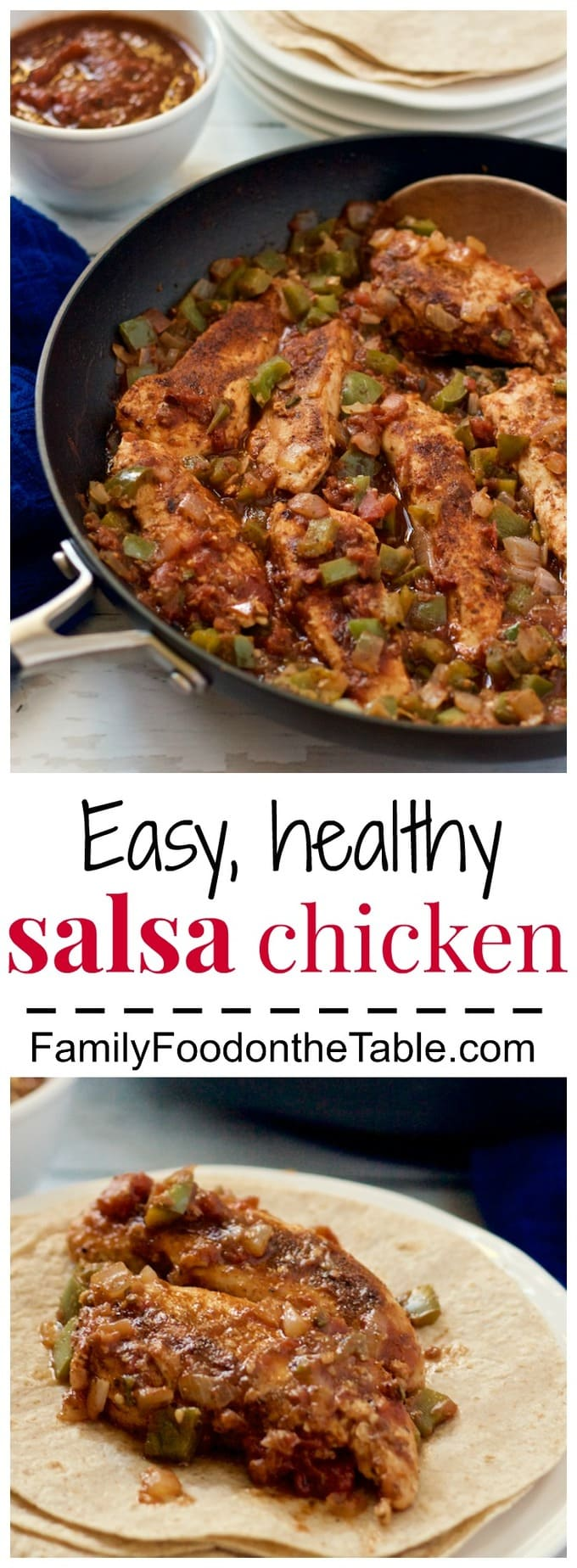 Easy, fast salsa chicken with onion, peppers and jalapeños is perfect for wraps or over rice. A great weeknight dinner! | FamilyFoodontheTable.com