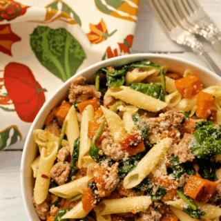 Sausage, squash and spinach gluten free pasta