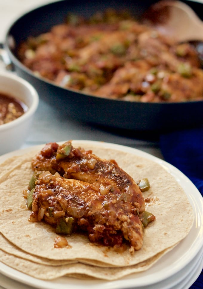 Salsa chicken is great in wraps or over rice for an easy, fast weeknight dinner! | FamilyFoodontheTable.com