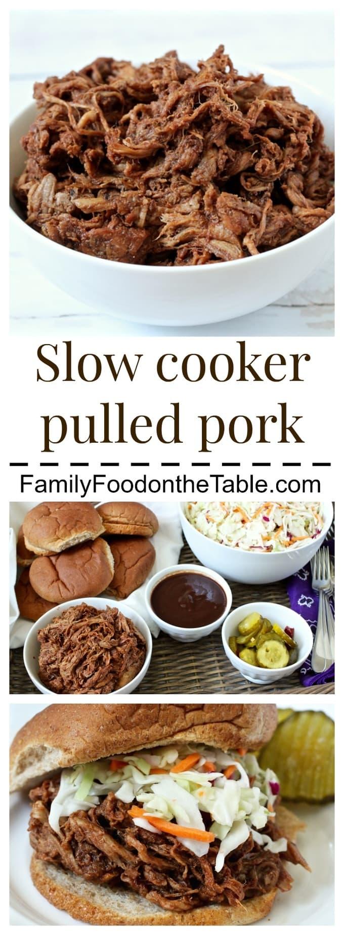 An easy 3-ingredient slow cooker pulled pork using pork tenderloin | FamilyFoodontheTable.com