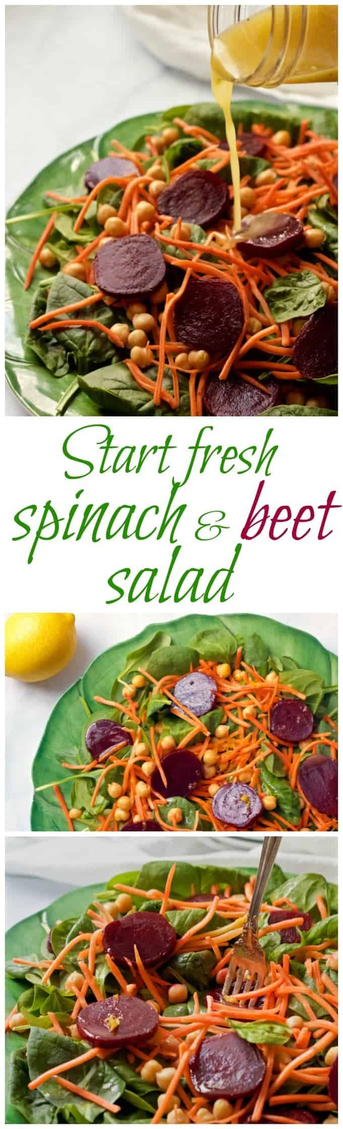 A fast and healthy winter salad of spinach, beets, chick peas and carrots, tossed in a lemon-maple vinaigrette!